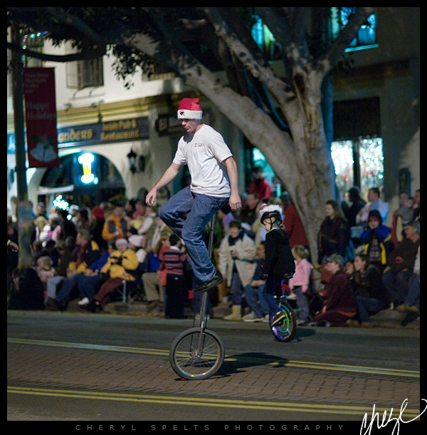 Unicycles in the Fallbrook Christmas Parade