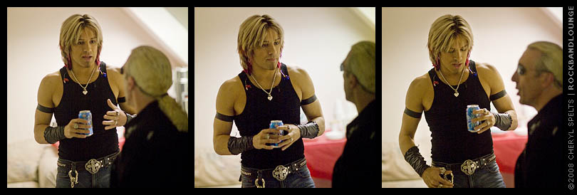 Jesse Blaze Snider and Dee Snider backstage at MTV's Rock The Cradle.