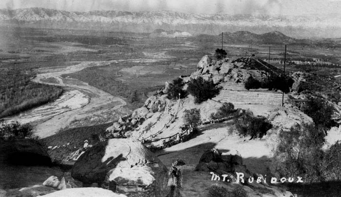 Historical postcard of Mount Rubidoux, 1947