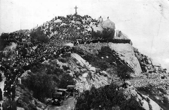 Historical postcard of Mount Rubidoux, pre 1920
