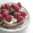 Fresh Raspberries on a Bagel
