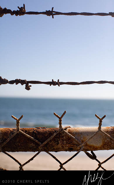 Beach through Barbed Wire // Photo: Cheryl Spelts